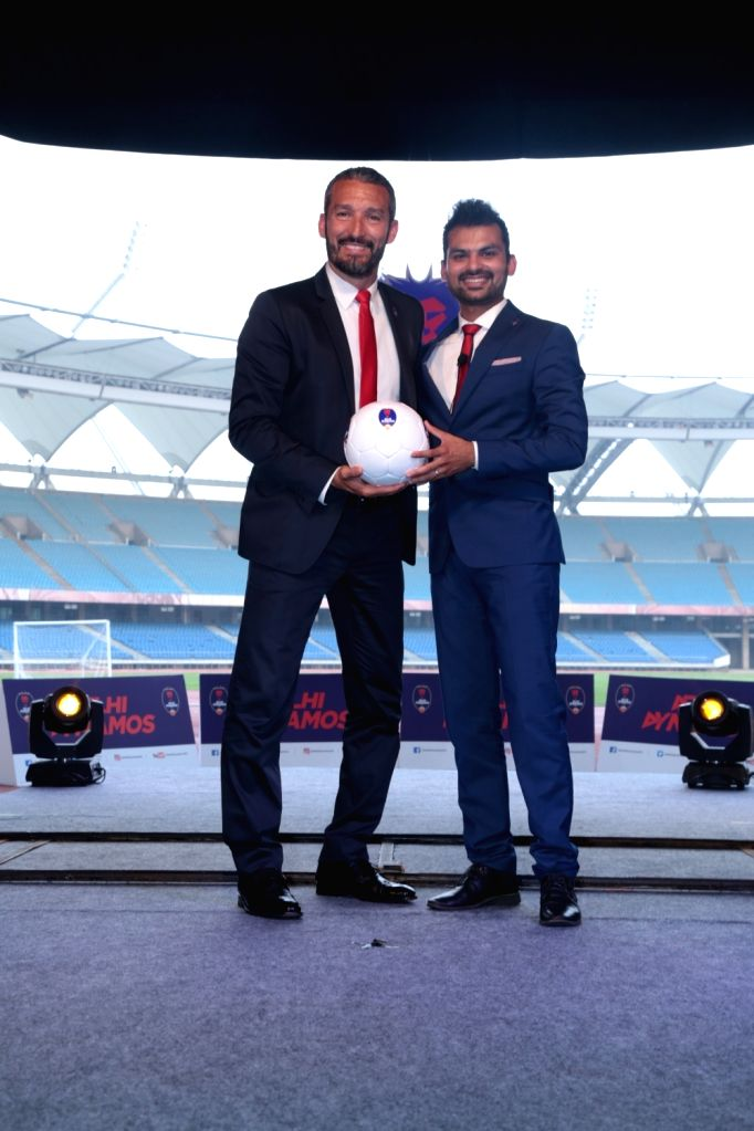Italian football great Gianluca Zambrotta unveiled as the new Delhi Dynamos chief coach for the third edition of the Indian Super League (ISL) in New Delhi on July 5, 2016. Also seen Delhi ...