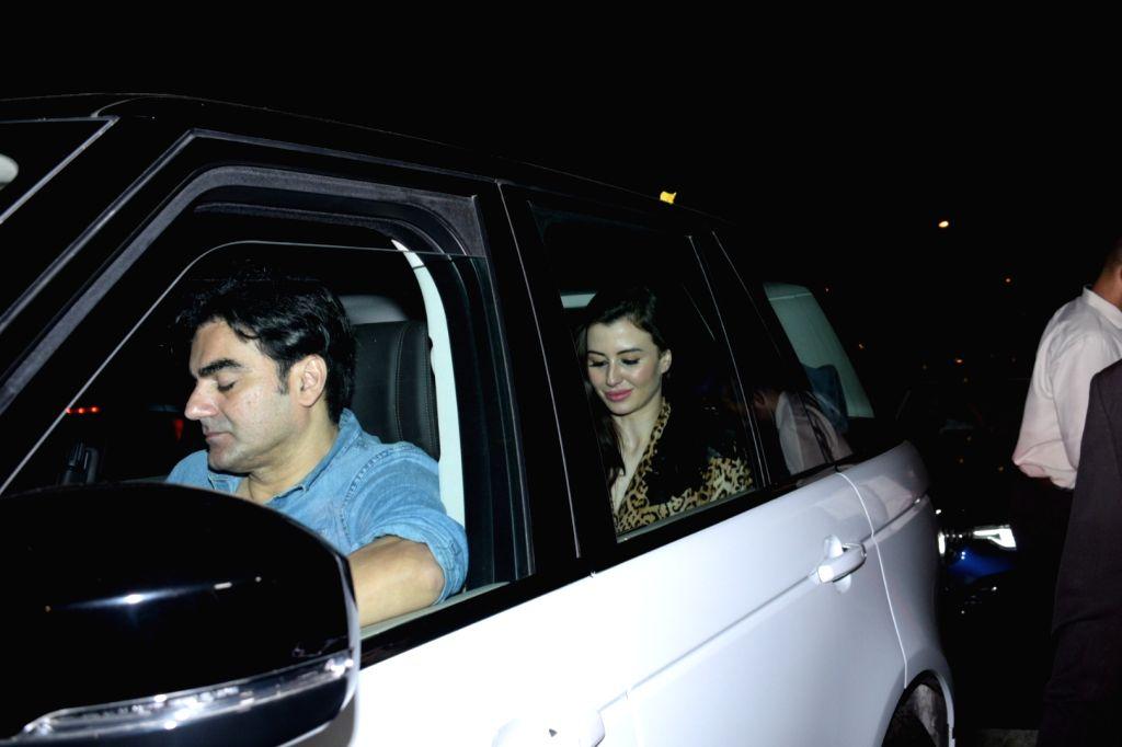 Italian model Giorgia Andriani, with actor Arbaaz Khan at her birthday celebrations, in Mumbai, on May 20, 2019. - Giorgia Andriani and Arbaaz Khan