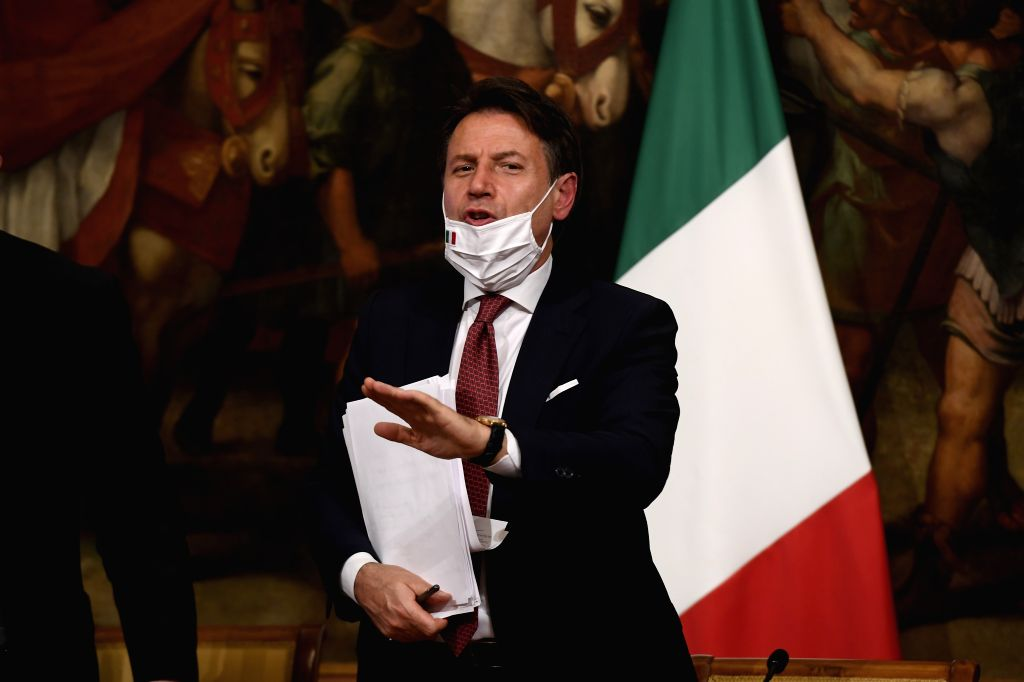 Italian Prime Minister Giuseppe Conte attends a press conference in Rome, Italy, on Aug. 7, 2020. Italy's cabinet on Friday gave green light to a new decree containing ... - Giuseppe Conte