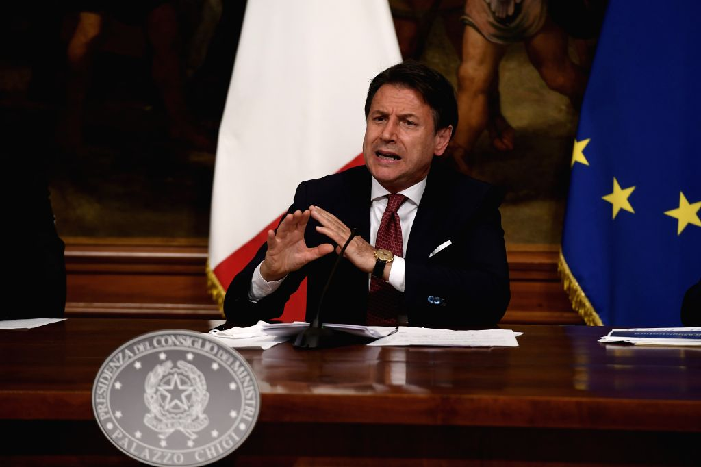 Italian Prime Minister Giuseppe Conte speaks at a press conference in Rome, Italy, on Aug. 7, 2020. Italy's cabinet on Friday gave green light to a new decree ... - Giuseppe Conte