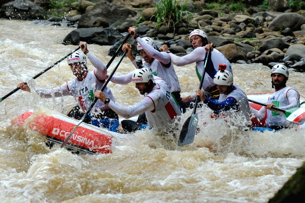 Italian slalom team practices during World Rafting Championship 2015 at Citarik river, Sukabumi, West Java, Indonesia on Dec. 3, 2015.