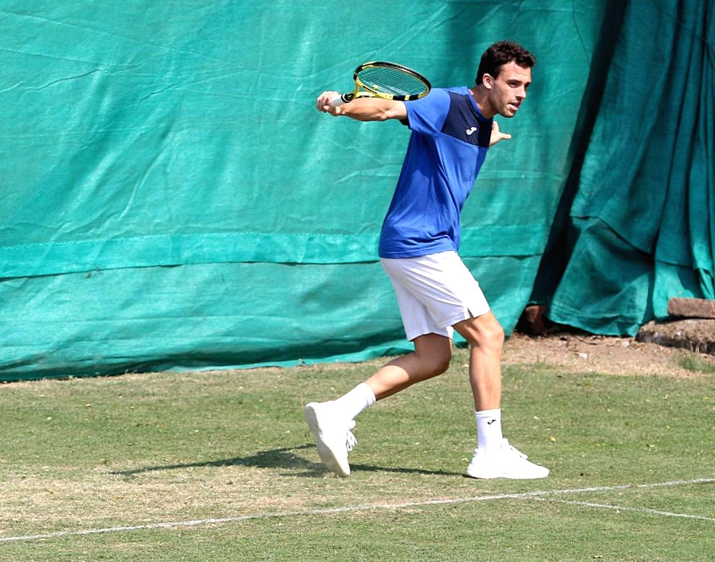 Italian tennis player Marco Cecchinato in action during a practice session ahead of the Davis Cup World Group qualifier against India on February 1-2, in Kolkata on Jan 30, 2019.