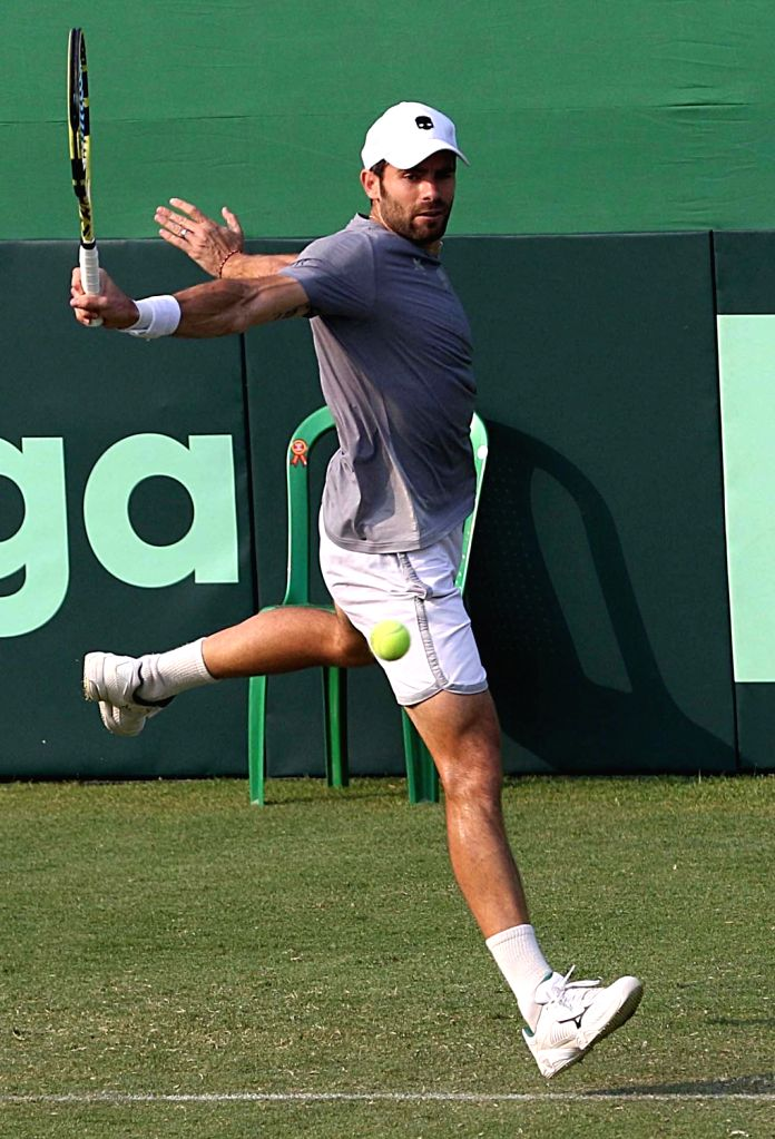 Italy's Simone Bolelli in action during a practice session ahead of the Davis Cup World Group qualifier against India on February 1-2, in Kolkata on Jan 31, 2019.