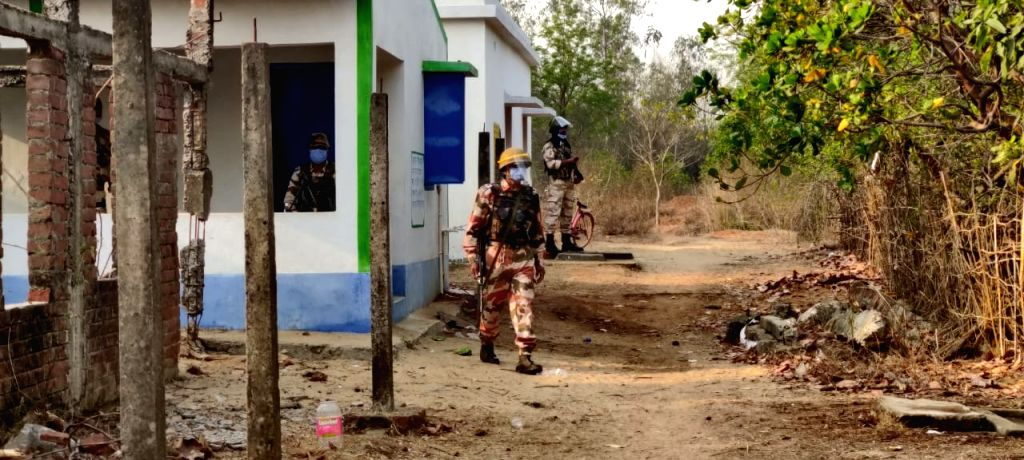 ITBP troops guarding booths in Jhargram District during first phase of West Bengal Assembly polls