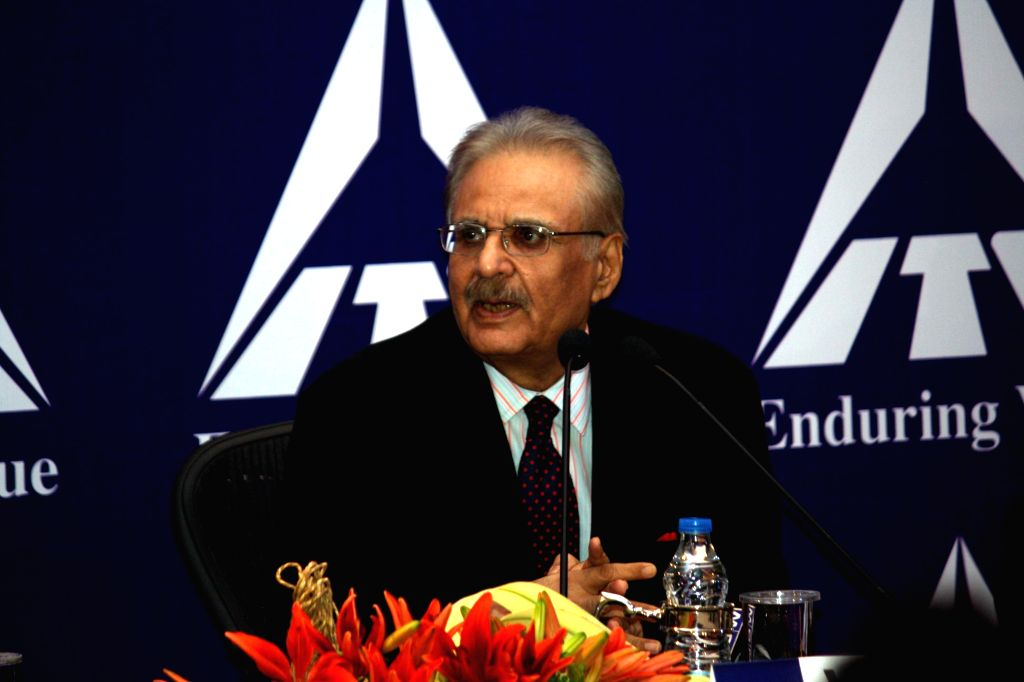 ITC Chairman YC Deveshwar addresses during the 103rd AGM of the company in Kolkata on July 30, 2014.