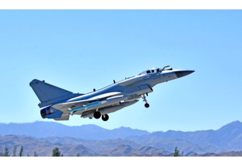 """IUQUAN, May 24, 2018 - Undated photo shows a Chinese Air Force jet fighter attending the """"Red Arrow2018"""" drill. The Chinese Air Force began the """"Red Arrow2018"""" combat ..."""