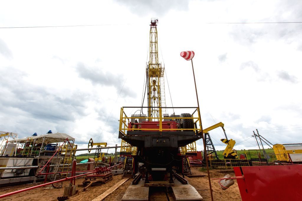 IZHEVSK, July 3, 2017 - Photo taken on June 2, 2017 shows the well drilling field of the Udmurtia Petroleum Corp project in Udmurtia, a republic in western Russia. On the vast east European plain ...