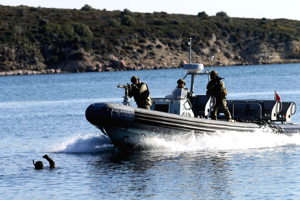 "IZMIR, March 5, 2019 - Soldiers take part in the ""Blue Homeland 2019"" naval military exercise in Izmir, Turkey, March 5, 2019. The largest ever drill conducted by the Turkish Navy is seen ..."