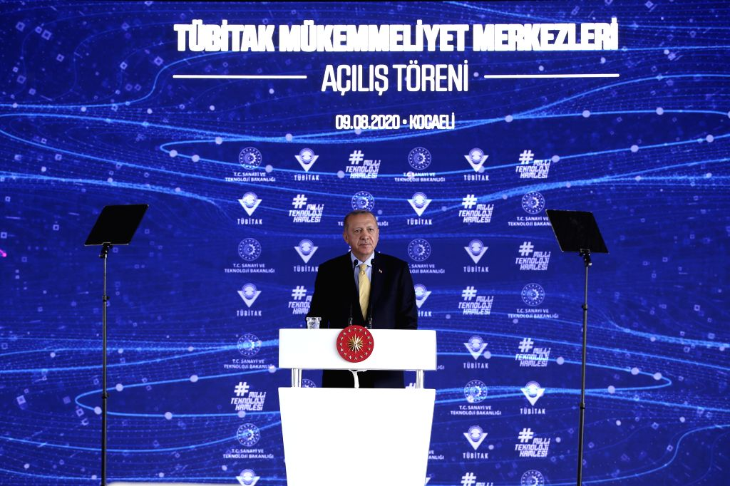 Izmit (Turkey), Aug. 9, 2020 Turkish President Recep Tayyip Erdogan attends the opening ceremony of the Scientific and Technological Research Council of Turkey (TUBITAK) Excellence ...