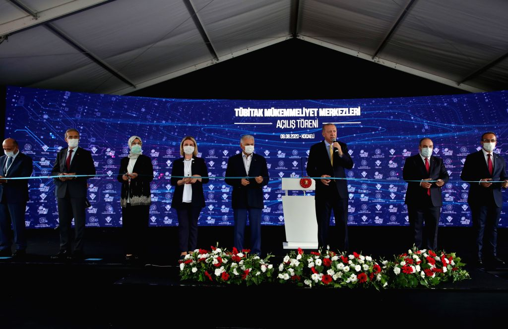 Izmit (Turkey), Aug. 9, 2020 Turkish President Recep Tayyip Erdogan (3rd R) attends the opening ceremony of the Scientific and Technological Research Council of Turkey (TUBITAK) ...