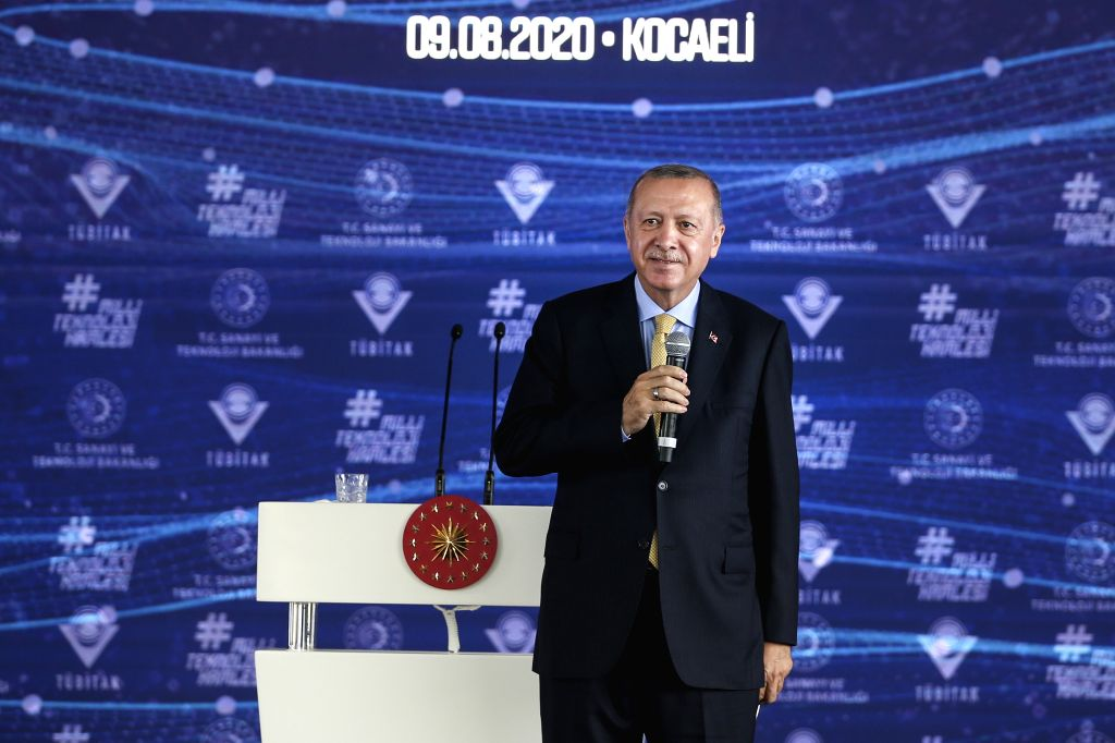 Izmit (Turkey), Aug. 9, 2020 Turkish President Recep Tayyip Erdogan addresses the opening ceremony of the Scientific and Technological Research Council of Turkey (TUBITAK) Excellence ...