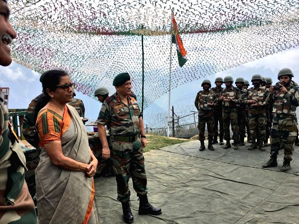 J&K: Defence Minister Nirmala Sitharaman during her visit to the Balbir forward post along with Army Chief Gen. Bipin Rawat, in Jammu and Kashmir on Sept 2, 2018. - Nirmala Sitharaman