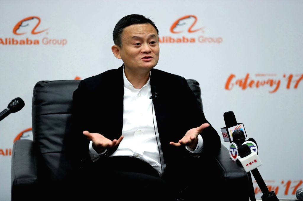 Jack Ma, the founder and chairman of the Chinese e-commerce giant Alibaba, receives interviews during the two-day session with owners of U.S. small and medium-sized enterprises, in Detroit, ...