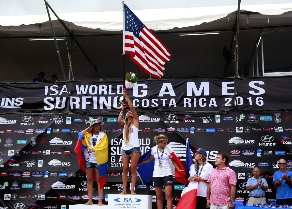 JACO, Aug. 15, 2016 - Gold medalist Tia Blanco (C) of the United States, silver medalist Dominic Barona (L) of Ecuador and bronze medalist Pauline Ado (R) of France celebrate during the awarding ...