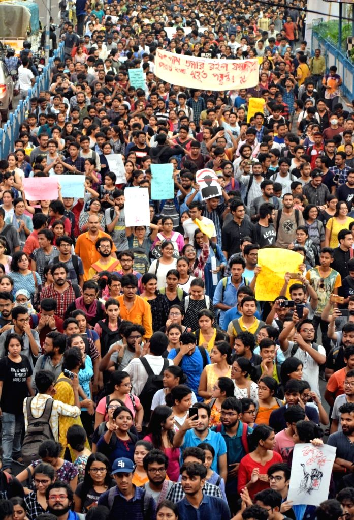 Jadavpur University students protest a day after Union Minister Babul Supriyo was heckled and assaulted by radical Left students inside the University for hours, following which ABVP workers ... - Babul Supriyo