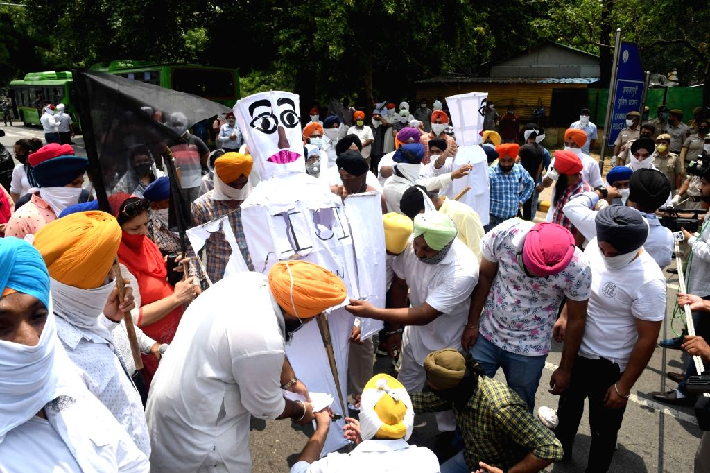 Jag Aasra Guru Ott (JAGO) party workers protest against Pakistani Intelligence Agency Inter-Services Intelligence (ISI) for backing pro-Khalistan activities and the ???Khalistan Referendum ...