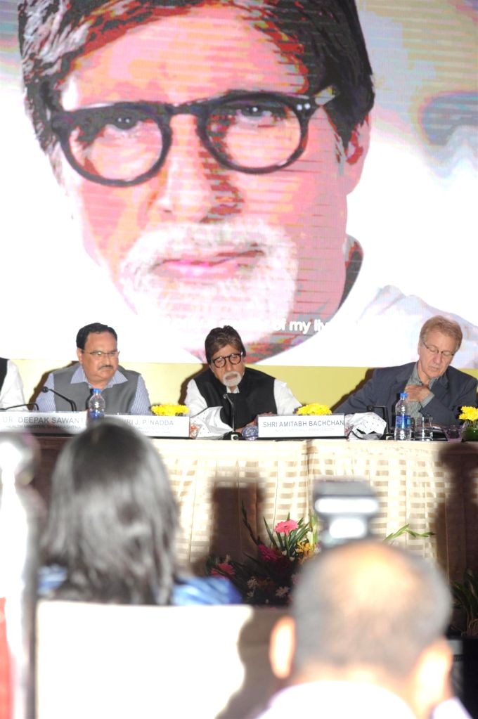 Jagat Prakash Nadda, Union Minister of Health and Family Welfare, actor Amitabh Bachchan and Louis-Georges Arsenault, UNICEF Representative to India during the launch of campaign on ... - Amitabh Bachchan