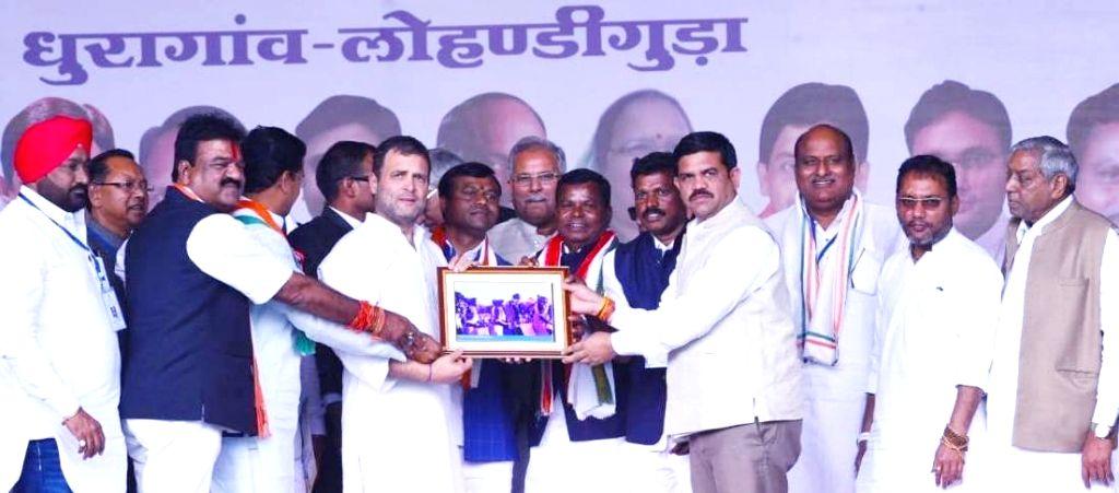 Jagdalpur: Congress President Rahul Gandhi with Chief Minister Bhupesh Baghel during a party programme in Jagdalpur, Chhattisgarh on Feb 16, 2019. (Photo: IANS) - Bhupesh Baghel and Rahul Gandhi