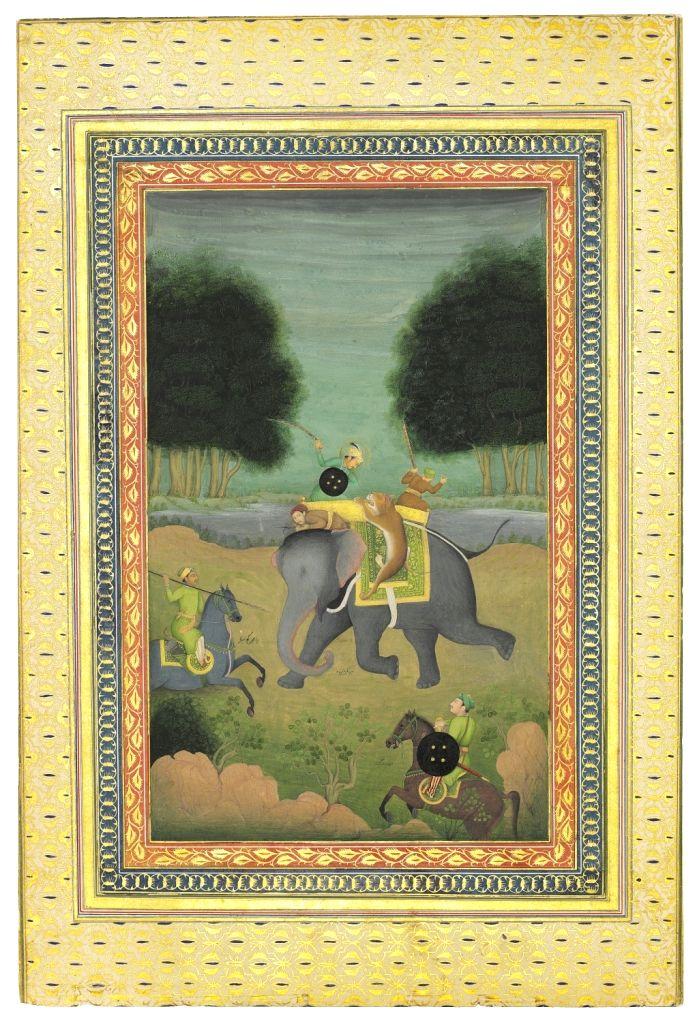 :Jahangir on a lion hunt..