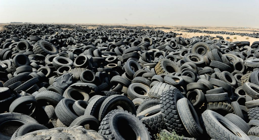 JAHRA GOVERNORATE (KUWAIT), Oct. 17, 2019 Used tires are seen on a site in Jahra Governorate, Kuwait, on Oct. 17, 2019. The Environment Public Authority of Kuwait will clean a site ...