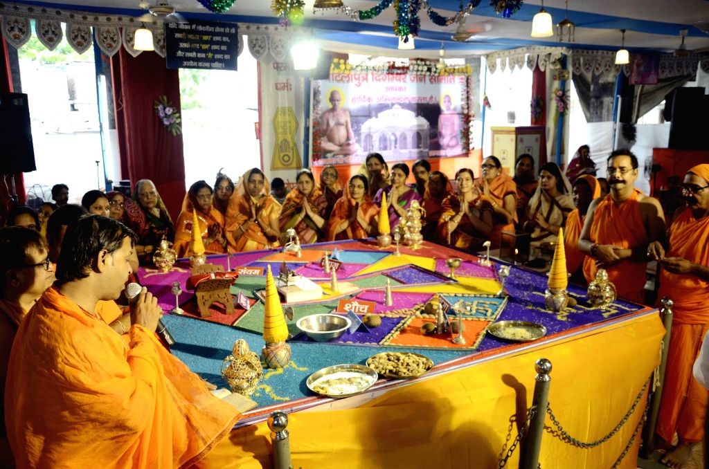 Jains observe Paryushan at a Patna Temple in Patna on Sept 2, 2014.