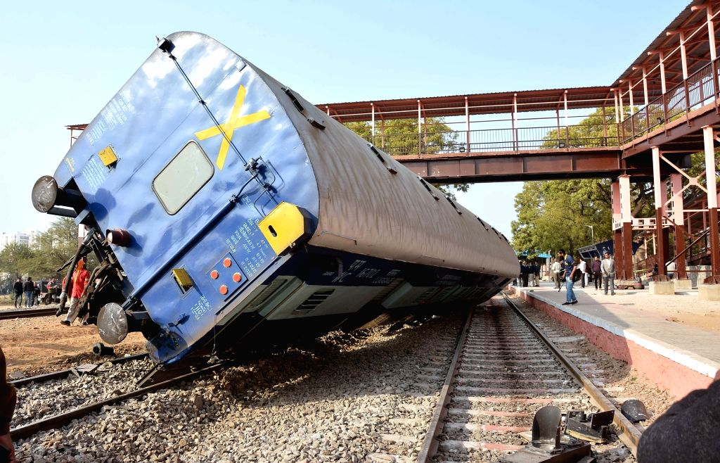Jaipur: A bogey of Dayodaya Express that got derailed near Sanganer railway station in Jaipur on Feb 1, 2019. (Photo: IANS)