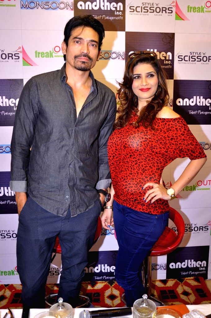 Actors Shawar Ali and Shrishti Sharma during a press conference to promote their upcoming film `Monsoon` in Jaipur, on Feb 19, 2015. - Shawar Ali and Shrishti Sharma