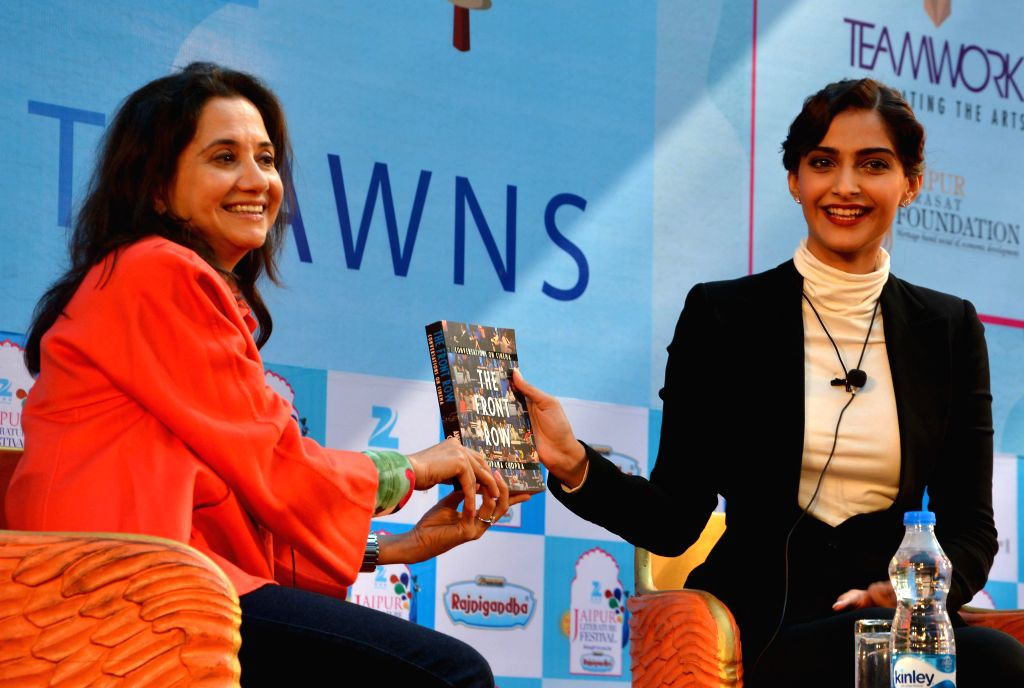Actress Sonam Kapoor with author Anupama Chopra at the Jaipur Literature Festival in Jaipur, on Jan 23, 2015. - Anupama Chopra