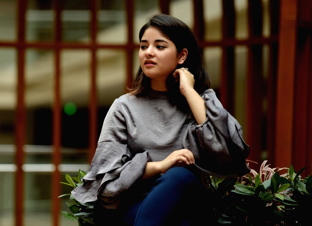 "Jaipur: Actress Zaira Wasim during a press conference organised to promote her upcoming film ""Secret Superstar"" in Jaipur, on Oct 14, 2017. (Photo: Ravi Shankar Vyas/IANS) - Zaira Wasim"