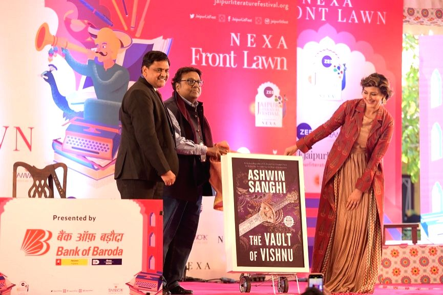 Jaipur: Ashwin Sanghi's latest book 'The Vault of Vishnu' being launched by Sonali Bendre Behl at 13th Jaipur Literature Festival in Jaipur (Photo: IANS)