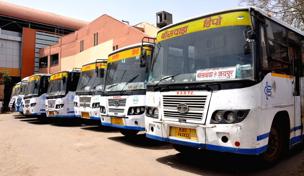 Buses remain parked at a Jaipur depot during a 24-hour nationwide strike called by trade unions on April 30, 2015.