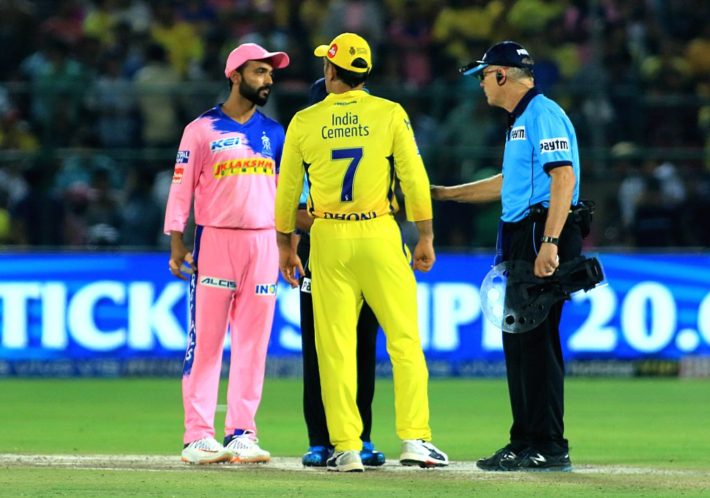 Jaipur: Chennai Super Kings' MS Dhoni and Ajinkya Rahane during the 25th match of IPL 2019 between Rajasthan Royals and Chennai Super Kings at Sawai Mansingh Stadium in Jaipur on April 11, 2019. (Photo: IANS) - MS Dhoni