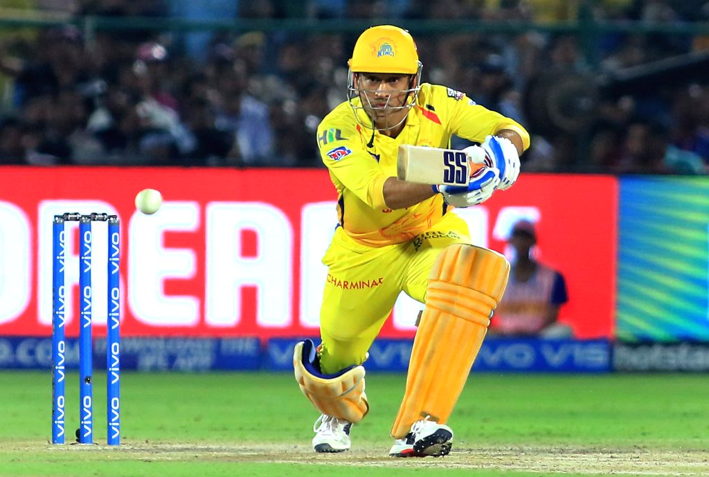 Jaipur: Chennai Super Kings' MS Dhoni in action during the 25th match of IPL 2019 between Rajasthan Royals and Chennai Super Kings at Sawai Mansingh Stadium in Jaipur on April 11, 2019. (Photo: IANS) - MS Dhoni
