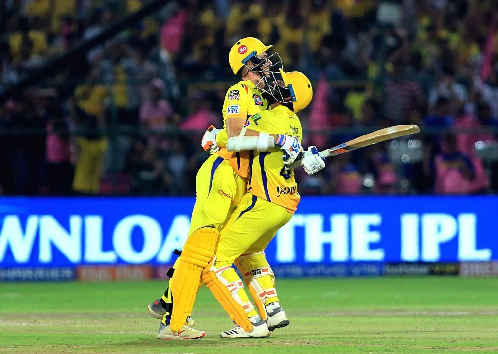 Jaipur: Chennai Super Kings'Ravindra Jadeja andMitchell Santner celebrate after winning the 25th match of IPL 2019 against Rajasthan Royals at Sawai Mansingh Stadium in Jaipur on April 11, 2019. (Photo: IANS) - Ravindra Jadeja