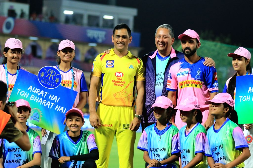 Jaipur: Chennai Super Kings skipper MS Dhoni and Rajasthan Royals skipper Ajinkya Rahane ahead of the toss during the 25th match of IPL 2019 between Rajasthan Royals and Chennai Super Kings at Sawai Mansingh Stadium in Jaipur on April 11, 2019. (Phot - MS Dhoni