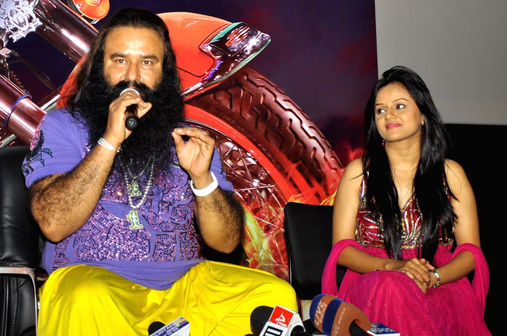 Dera Sacha Sauda chief Gurmeet Ram Rahim Singh during a press conference to promote his upcoming film `MSG: The Messenger of God` in Jaipur, on Jan 12, 2015.