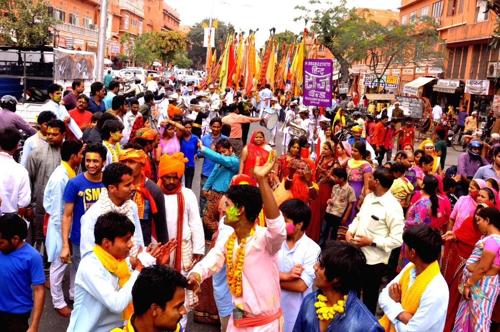 Devotees participate in a religious procession that started from Jaipur and will culminate at Khatushyamji in Sikar district of Rajasthan on Feb 24, 2015.