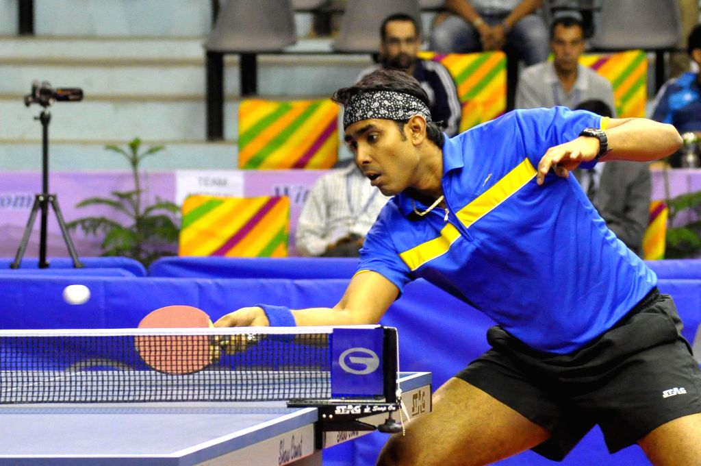 Indian table tennis player Achanta Sharath Kamal in action during the 28th Asian Cup at SMS indoor Statdium in Jaipur, on March 13, 2015.