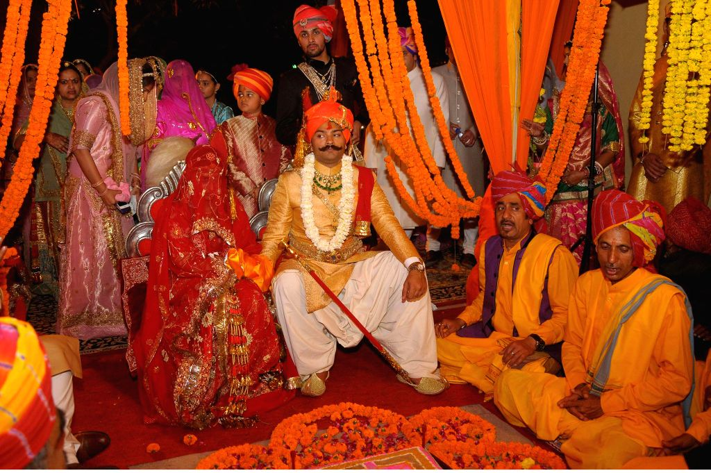 Kunwar Karni Singh Sodha of Amarkot district at Sindh in Pakistan tied the knot with Padmini Rathore of Kanota royal family arrives during the wedding ceremony at Narain Niwas in Jaipur on ...