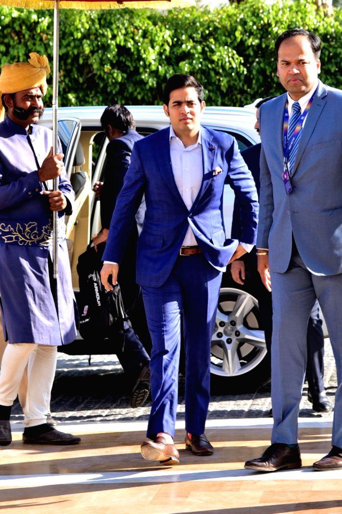 Jaipur: Mumbai Indians co-owner Akash Ambani arrives at IPL auction in Jaipur on Dec 18, 2018. (Photo: Ravi Shankar Vyas/IANS) - Akash Ambani
