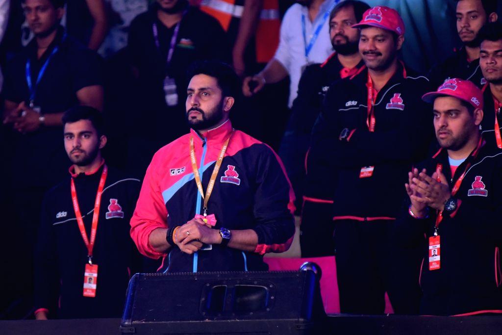 Jaipur : Pink Panthers co-owner and actor Abhishek Bachchan during a Pro Kabaddi League match between  Jaipur Pink Panthers and Telugu Titans at Sawai Mansingh Stadium in Jaipur, on June 29, 2016. - Abhishek Bachchan
