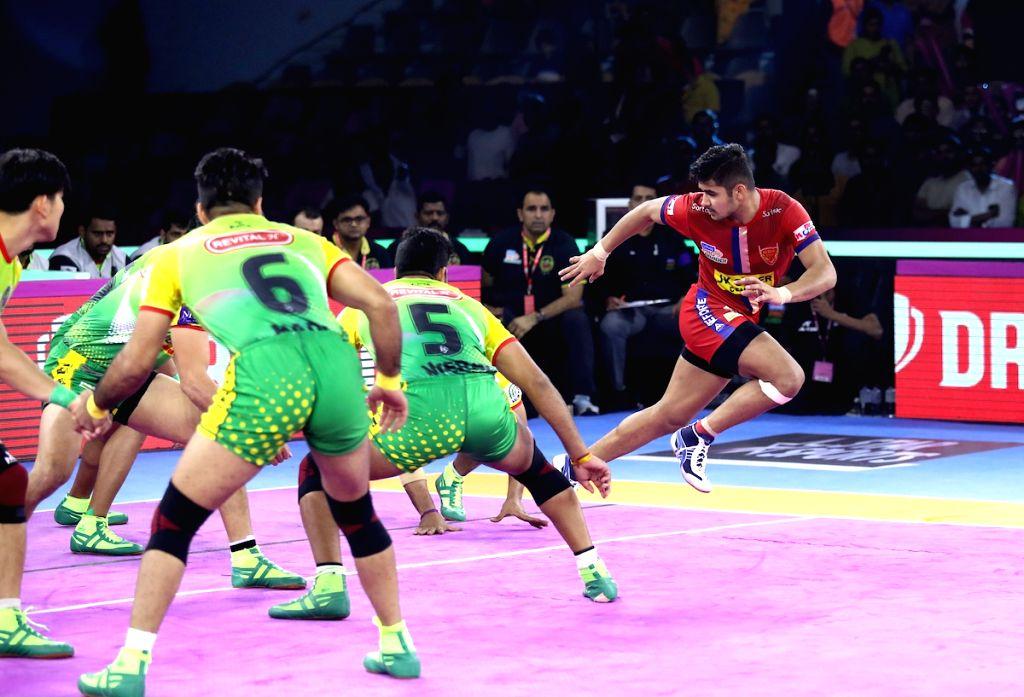 Jaipur: Players in action during Pro Kabaddi Season 7 match between Patna Pirates and Dabang Delhi at Sawai Mansingh Indoor Stadium in Jaipur on Sep 26, 2019. (Photo: IANS)