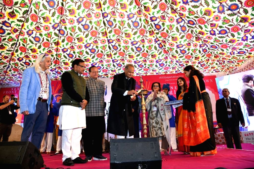 Jaipur: Rajasthan Chief Minister Ashok Gehlot lights the lamp to inaugurate 13th annual edition of the Zee Jaipur Literature Festival at Diggi Palace, on Jan 23, 2020. (Photo: IANS) - Ashok Gehlot