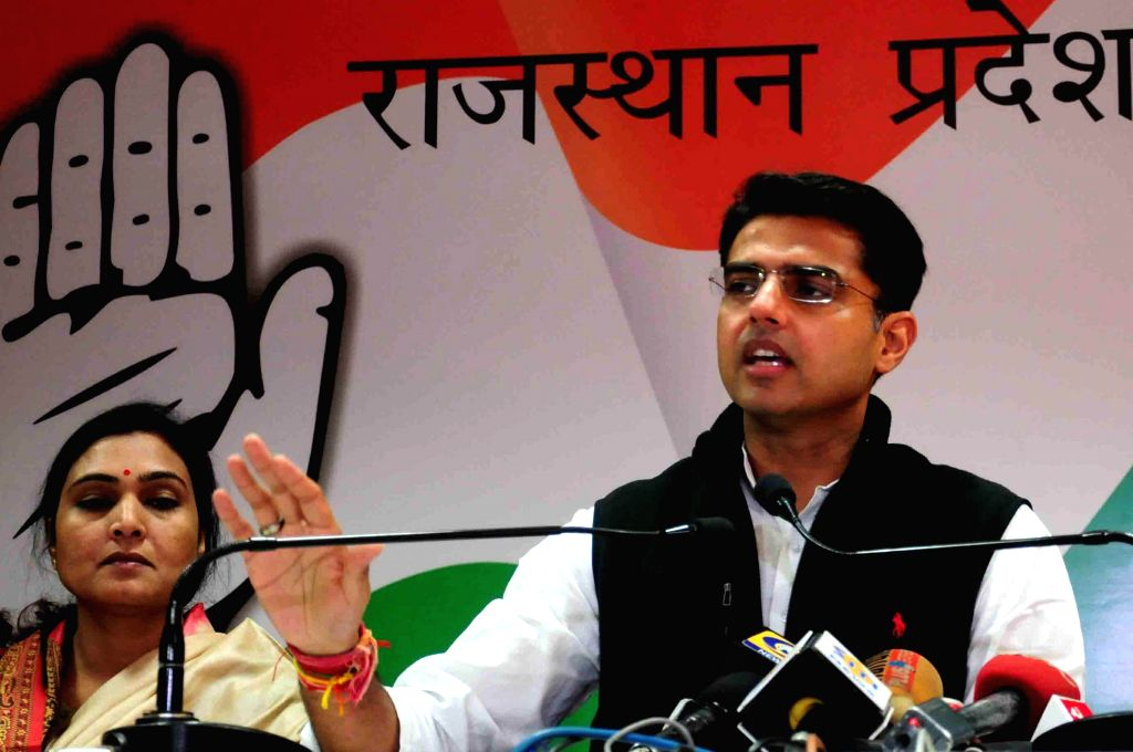 Rajasthan Congress chief Sachin Pilot addresses a press conference in Jaipur, on Dec 12, 2014.