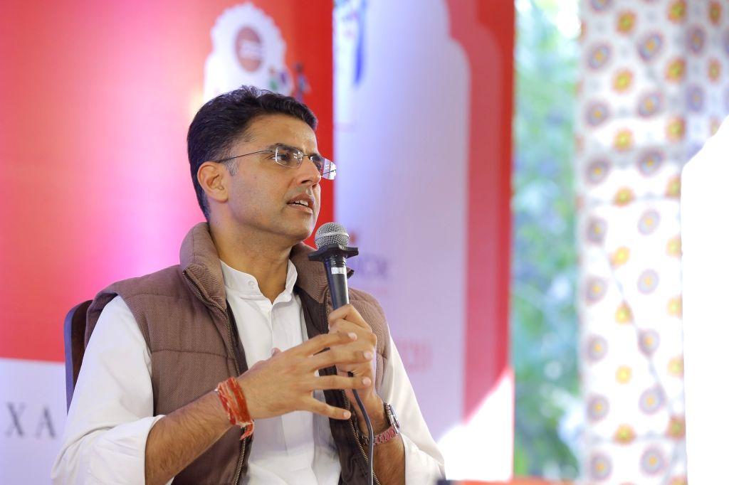 Jaipur: Rajasthan Deputy Chief Minister Sachin Pilot speaks at the ZEE Jaipur Literature Festival 2020. (Photo: IANS) - Sachin Pilot