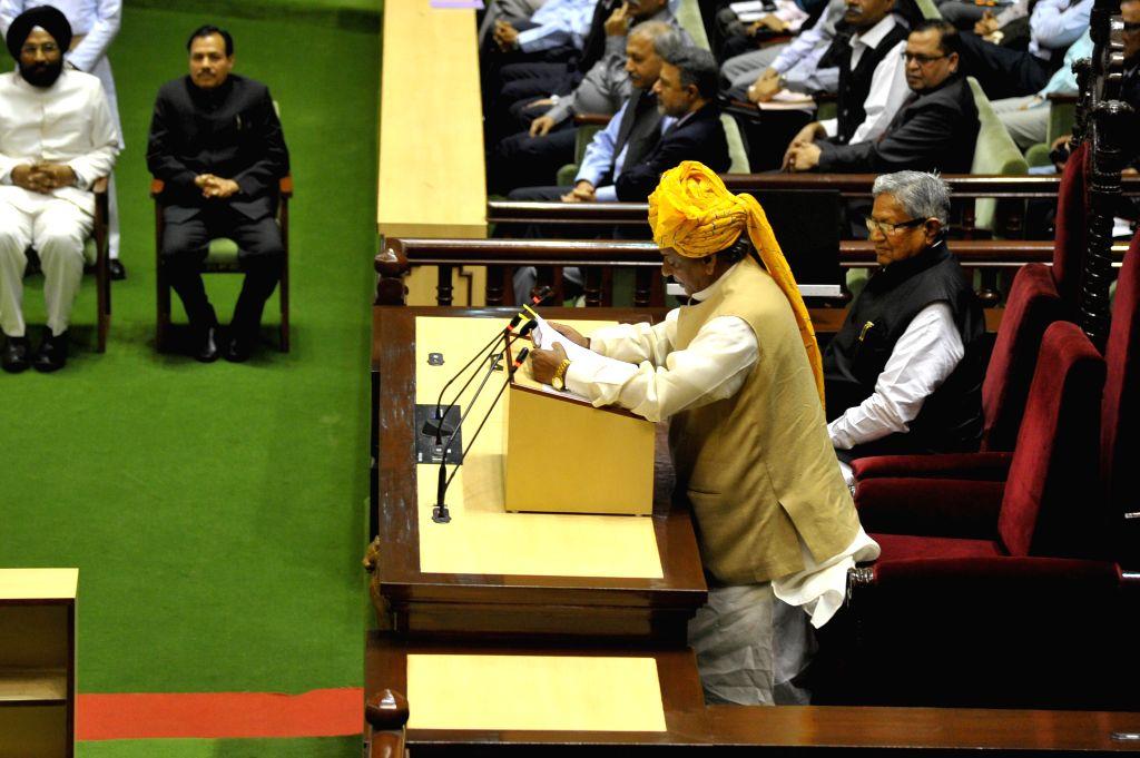 Rajasthan Governor Kalyan Singh addresses during the budget session of Rajasthan Assembly in Jaipur, on Feb 25, 2015. - Kalyan Singh