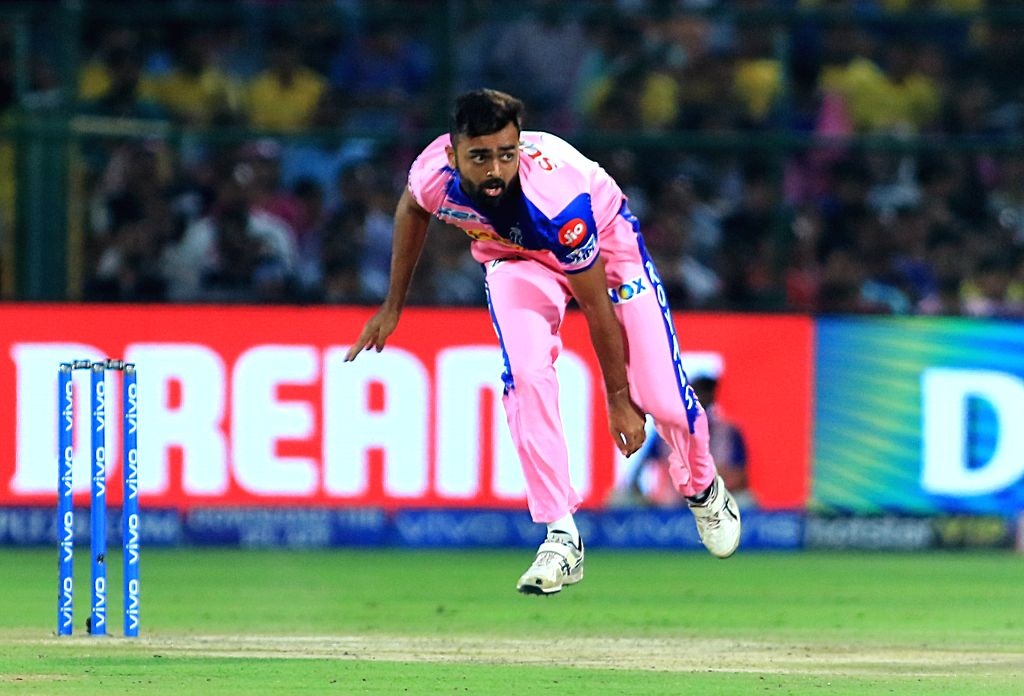 Jaipur: Rajasthan Royals' Jaydev Unadkat in action during the 25th match of IPL 2019 between Rajasthan Royals and Chennai Super Kings at Sawai Mansingh Stadium in Jaipur on April 11, 2019. (Photo: IANS)