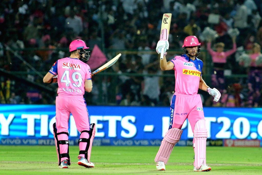 Jaipur: Rajasthan Royals' Jos Buttler celebrates his half century during the 14th IPL 2019 match between Rajasthan Royals and Royal Challengers Bangalore at Sawai Mansingh Stadium in Jaipur on April 2, 2019. (Photo: IANS)
