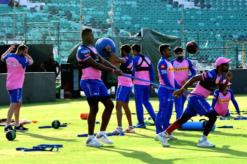 Jaipur: Rajasthan Royals players during a practice session at Sawai Mansingh Stadium in Jaipur, on April 4, 2019. (Photo: Ravi Shankar Vyas/IANS)