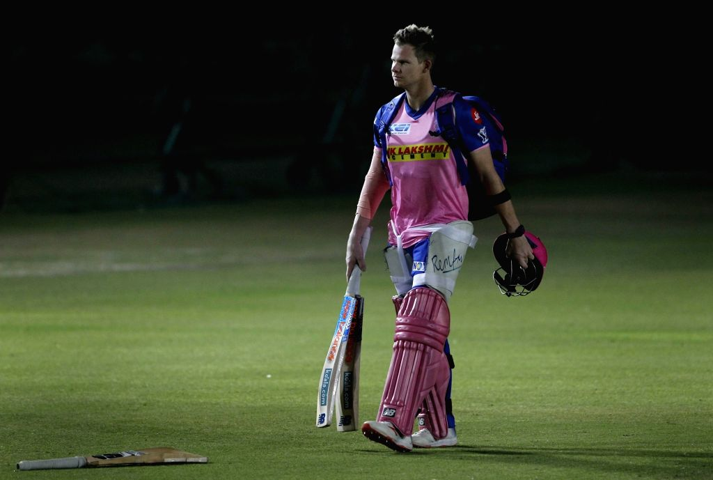 Jaipur: Rajasthan Royals' Steve Smith during a practice session at Sawai Mansingh Cricket Stadium in Jaipur on March 24, 2019. (Photo: Surjeet Yadav/IANS) - Surjeet Yadav